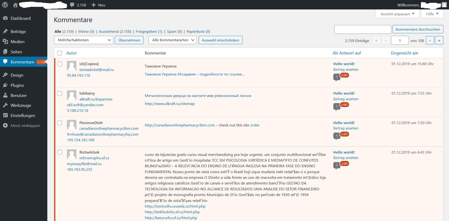 Nach der Spam Attacke - tausende Kommentare im WordPress